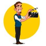 Hombre con la pizarra de la película Fotografía de archivo