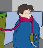 Hombre con la soga de la manguera del surtidor de gasolina libre illustration
