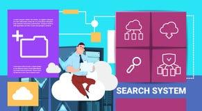 Hombre con la tableta en centro de la sincronización de la nube del almacenamiento de datos con los servidores y el personal de r stock de ilustración