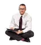 Hombre con la tablilla Foto de archivo libre de regalías
