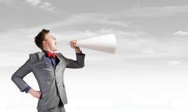 Hombre con la trompeta Foto de archivo libre de regalías