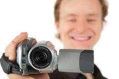 Hombre con la videocámara Fotos de archivo