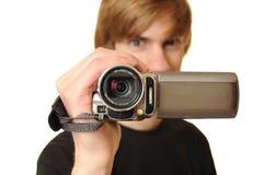 Hombre con la videocámara de HD Foto de archivo