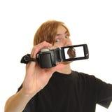Hombre con la videocámara de HD Fotos de archivo libres de regalías