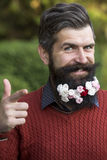 Hombre con las flores en barba Fotografía de archivo libre de regalías