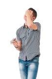 Hombre con las píldoras Foto de archivo