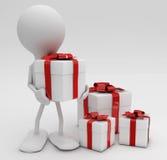 Hombre con las porciones de regalos. Fotos de archivo