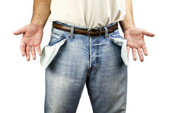 Hombre con los bolsillos vacíos Imagen de archivo