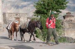 Hombre con los caballos, aldeano en la región de la montaña de Ladakh la India Fotografía de archivo libre de regalías