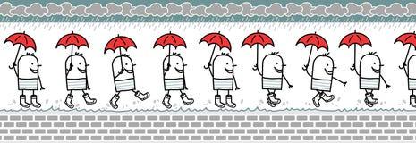 Hombre con los cargadores del programa inicial del paraguas y de lluvia