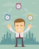 Hombre con los despertadores, - gestión de tiempo stock de ilustración