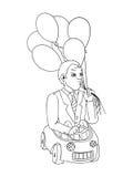 Hombre con los globos en el coche del juguete, concepto de la historieta Foto de archivo libre de regalías
