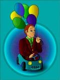 Hombre con los globos en el coche del juguete a todo color Imágenes de archivo libres de regalías