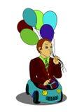 Hombre con los globos en el logotipo de la historieta del coche del juguete Imagenes de archivo