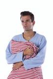Hombre con los nightclothes foto de archivo