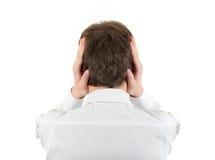Hombre con los oídos cerrados Imagen de archivo libre de regalías