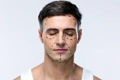 Hombre con los ojos cerrados Foto de archivo libre de regalías