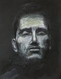 Hombre con los ojos cerrados, dibujo en colores pastel stock de ilustración