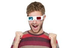 Hombre con los vidrios 3D Foto de archivo libre de regalías