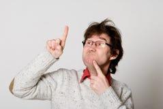 Hombre con los vidrios y con el pelo disheveled Fotos de archivo