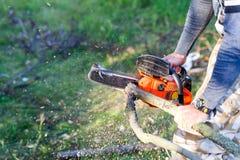 Hombre con madera de motor con gasolina del fuego del corte de la motosierra del árbol i Imagenes de archivo