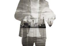 Hombre con miror refinary Foto de archivo