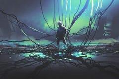 Hombre con muchos cables del negro contra fábrica oscura ilustración del vector
