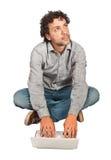 Hombre con PC Foto de archivo