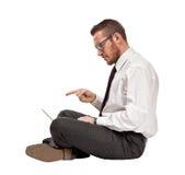 Hombre con PC Fotos de archivo