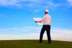 Hombre con plan Imagen de archivo libre de regalías