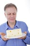 Hombre con queso imágenes de archivo libres de regalías