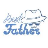 Hombre con un bigote en un sombrero y vidrios La inscripción es el mejor padre Tarjeta de felicitación Fotos de archivo