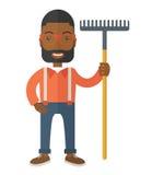 Hombre con un bigote que sostiene un rastrillo stock de ilustración