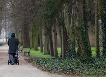 Hombre con un cochecito de niño en el parque fotos de archivo