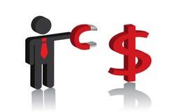 Hombre con un imán y una muestra de dólar libre illustration