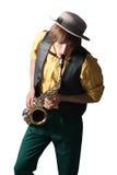 Hombre con un saxofón Foto de archivo libre de regalías