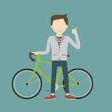 Hombre con una bicicleta Imágenes de archivo libres de regalías