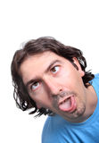Hombre con una cara divertida Foto de archivo libre de regalías