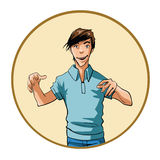 Hombre con una expresión intensa y las manos aumentadas Fotos de archivo libres de regalías