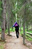 Hombre con una mochila en el suyo parte posterior que corre lejos en el bosque Fotografía de archivo