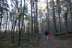 Hombre con una muchacha en el bosque foto de archivo