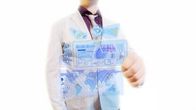 Hombre con una pantalla futurista Imágenes de archivo libres de regalías