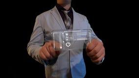 Hombre con una pantalla futurista Imagen de archivo