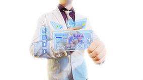 Hombre con una pantalla futurista Fotos de archivo libres de regalías