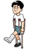 Hombre con una pierna quebrada stock de ilustración
