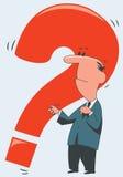 Hombre con una pregunta roja ilustración del vector