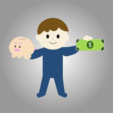 Hombre con vector del dinero y de la hucha Imágenes de archivo libres de regalías
