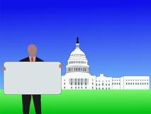 Hombre con Washington DC de la muestra ilustración del vector