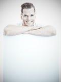 Hombre con Whiteboard Imagenes de archivo