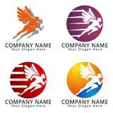 Hombre corriente rápido con Wing Concept Logo Imagen de archivo